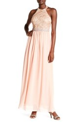 City Triangles Halter Neck Chiffon Gown Pink