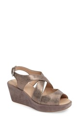 Johnston And Murphy Women's Dana Wedge Sandal Pewter Suede
