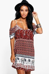 Boohoo Multi Elephant Print Open Shoulder Shift Dress Multi