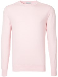 Gieves And Hawkes Crew Neck Jumper Pink And Purple