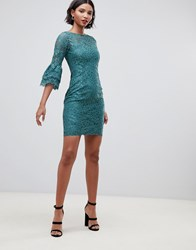 Paper Dolls All Over Lace Flute Sleeve Dress Green