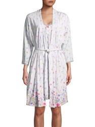 Carole Hochman Two Piece Floral Robe And Chemise Set White