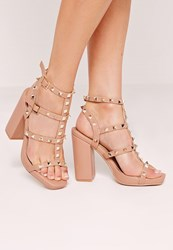 Missguided Studded Block Heeled Sandals Nude Pink