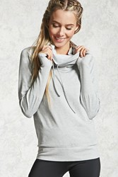 Forever 21 Active 09 Cowl Neck Hoodie Heather Grey