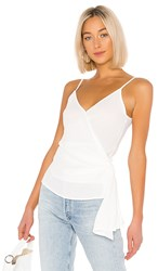 1.State 1. State Wrap Front Knot Detail Blouse In White. Soft Ecru