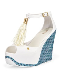 Melissa Shoes Peace Peep Toe Jelly Wedge White