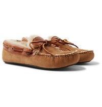 Quoddy Fireside Leather Trimmed Shearling Lined Suede Slippers Brown