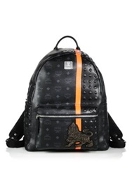 Mcm Munich Lion Backpack White Multi Cognac Multi Black Multi