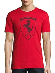 Puma Logo Printed Cotton Tee Red