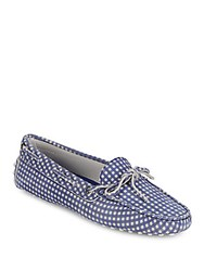 Tod's Checked Leather Boat Shoes Blue