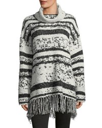 Willow And Clay Fringed Trim Cowl Neck Sweater Ivory