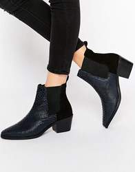 Park Lane Croc Print Leather Mid Heeled Chelsea Boots Navy Snake Black Sue