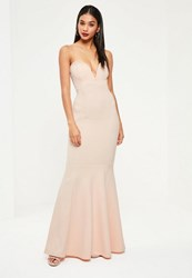 Missguided Nude Sweetheart Neck Maxi Dress