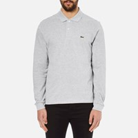 Lacoste Men's Long Sleeve Marl Polo Shirt Silver Chine