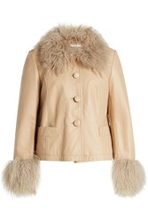 Saks Potts Leather Jacket With Lamb Fur Beige