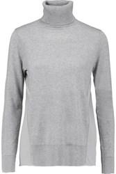 Magaschoni Paneled Silk And Cashmere Blend Turtleneck Sweater Gray