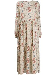 Semicouture Long Floral Panelled Dress 60