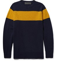 The Elder Statesman Striped Intarsia Cashmere Sweater Navy
