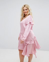 Alice And You Long Sleeve Shift Dress With Ruffle Layers Light Pink