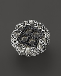 John Hardy Classic Chain Silver Lava Round Woven Braided Ring With Black Sapphire Bloomingdale's Exclusive Silver Black