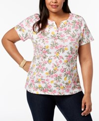 Karen Scott Plus Size Printed Short Sleeve Henley Top Created For Macy's Lemon Sugar