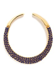 Kenneth Jay Lane Resin Bead Gold Plated Torque Necklace Blue