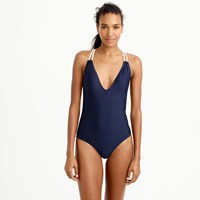 J.Crew Long Torso Braided Rope V Neck One Piece Swimsuit