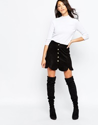 Daisy Street Scalloped Skirt In Faux Suede Black
