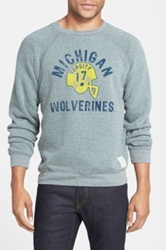 Original Retro Brand Retro Brand 'Michigan Wolverines Football' Slim Fit Raglan Crewneck Sweatshirt Gray