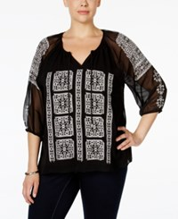 Calvin Klein Plus Size Embroidered Chiffon Peasant Blouse Black