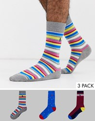 Penguin 3 Pack Socks Bright Stripes And Spots Multi