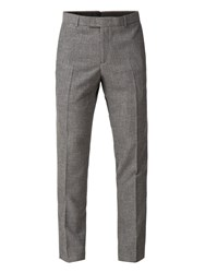 Limehaus Callow Grey Texture Skinny Fit Trousers Grey