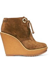 Burberry London London Suede Wedge Boots Tan