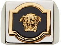 Versace Silver And Gold Square Medusa Ring