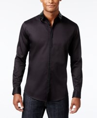 Inc International Concepts Men's Faux Leather Trimmed Shirt Only At Macy's Black