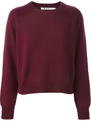 T By Alexander Wang Ribbed Crew Neck Sweater Red