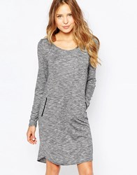 Ichi Long Sleeve Jumper Dress Salt And Pepper Grey