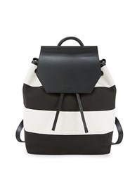 Kendall Kylie Nancy Striped Canvas Backpack Black White