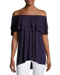 Philosophy Off The Shoulder Ruffled Jersey Top Navy
