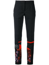 Talbot Runhof Floral Embroidered Trousers Women Cotton Polyester Spandex Elastane Cupro 36 Black