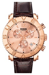 Versus By Versace 'Madison' Chronograph Leather Strap Watch 42Mm Brown Rose Gold