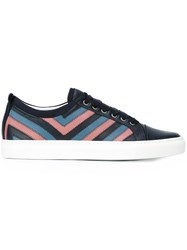 Lanvin Quilted Toe Cap Sneakers Blue