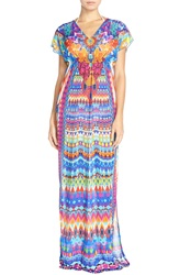 Luli Fama Print Long Cover Up Caftan Blue Multi