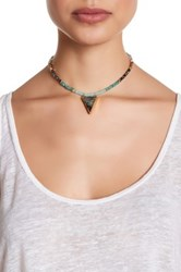 Panacea Beaded Gilded Abalone Shell Pendant Choker Necklace Green
