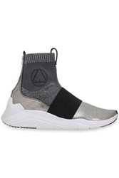 Mcq By Alexander Mcqueen Metallic Cracked Leather And Stretch Knit Sock Sneakers Silver