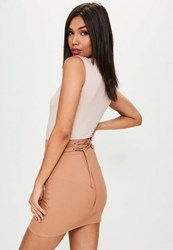 Missguided Camel Ribbed Lace Up Waist Skirt Beige