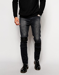 Asos Skinny Jeans With Zip And Leather Look Patch Detail Black
