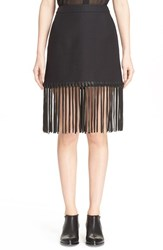 Women's Alexander Wang High Waist Fringe Mini Skirt Black