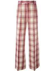 Msgm Plaid Straight Trousers Beige