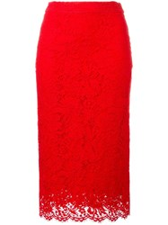 Ermanno Scervino Lace Pencil Skirt Red